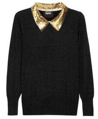 MARKUS LUPFER Sequin-collar fine-knit wool sweater