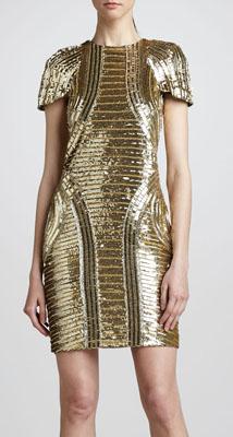 Monique Lhuillier Structured Sequin Dress