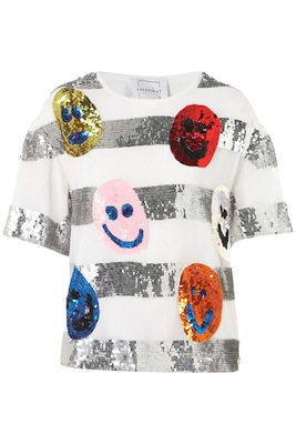 Smiley Face Sequin Tee by Louise Gray