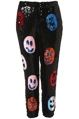 Smiley Face Sequin Trousers by Louise Gray
