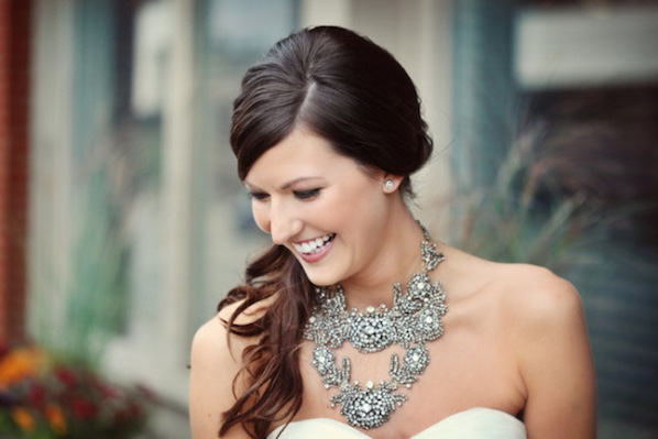 go big or go home on your wedding day with a bold statement necklace