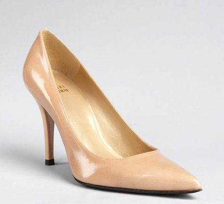 Stuart Wetizman Nude Patent Leather 'Daisy' Pointed Toe Pumps