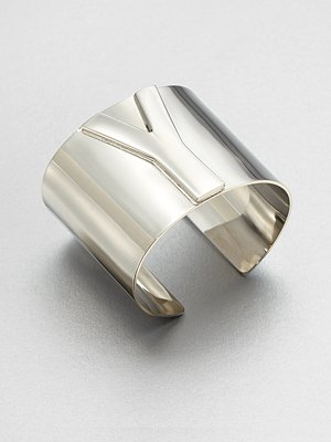 Yves Saint Laurent Signature Logo Bangle Bracelet Silvertone