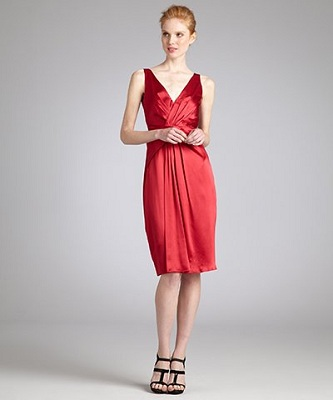 Elie Tahari Red Vine Charmeuse 'Liza' V-Neck Cocktail Dress