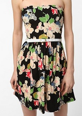 Kimchee Blue Printed Bow Back Strapless Dress