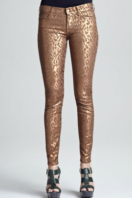 Seven For All Mankind Skinny Copper Cheetah Print Jeans