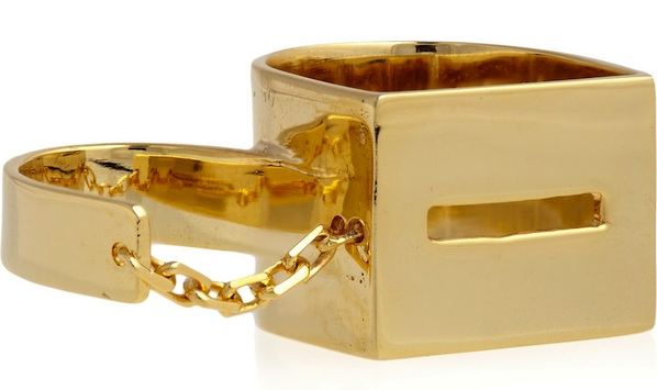 Esteban Cortazar 22-karat gold-plated double chain ring