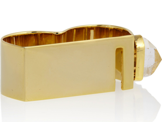 Esteban Cortazar 22-karat gold-plated quartz double ring