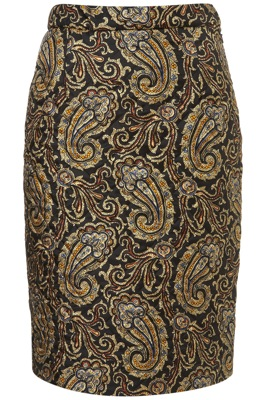 Quilted Silk Paisley Skirt