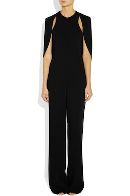 Esteban Cortazar Cape-back cady and stretch-crepe jumpsuit