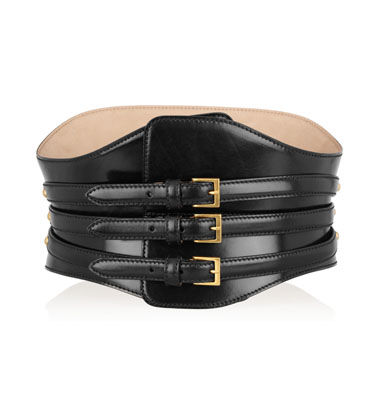Alexander McQueen Wide polished-leather waist belt