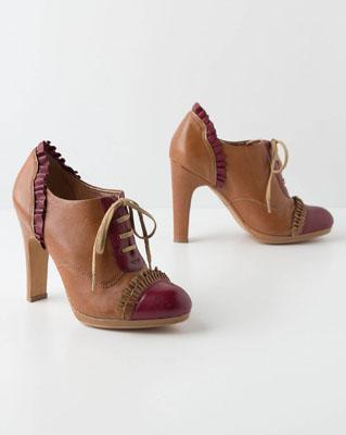 Bordeaux-Ruffled Oxford Heels
