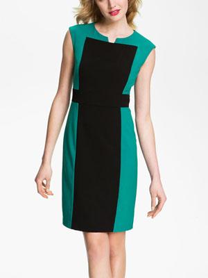 Calvin Klein Contrast Panel Woven Sheath Dress