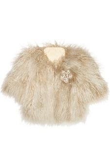 Lanvin Crystal-Brooch Shearling Jacket