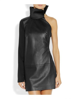 Esteban Cortazar Cutout leather and cady mini dress