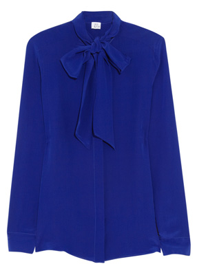 Iris & Ink The Pussybow silk-crepe blouse blue