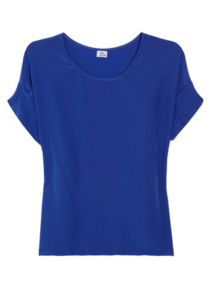 Iris & Ink The Shell silk top royal blue