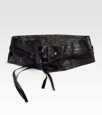 Josie Natori Pleated-Leather Obi Belt