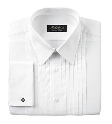 Michelsons of London Dress Shirt, Pleated Point Boxed Tuxedo Long Sleeve Shirt
