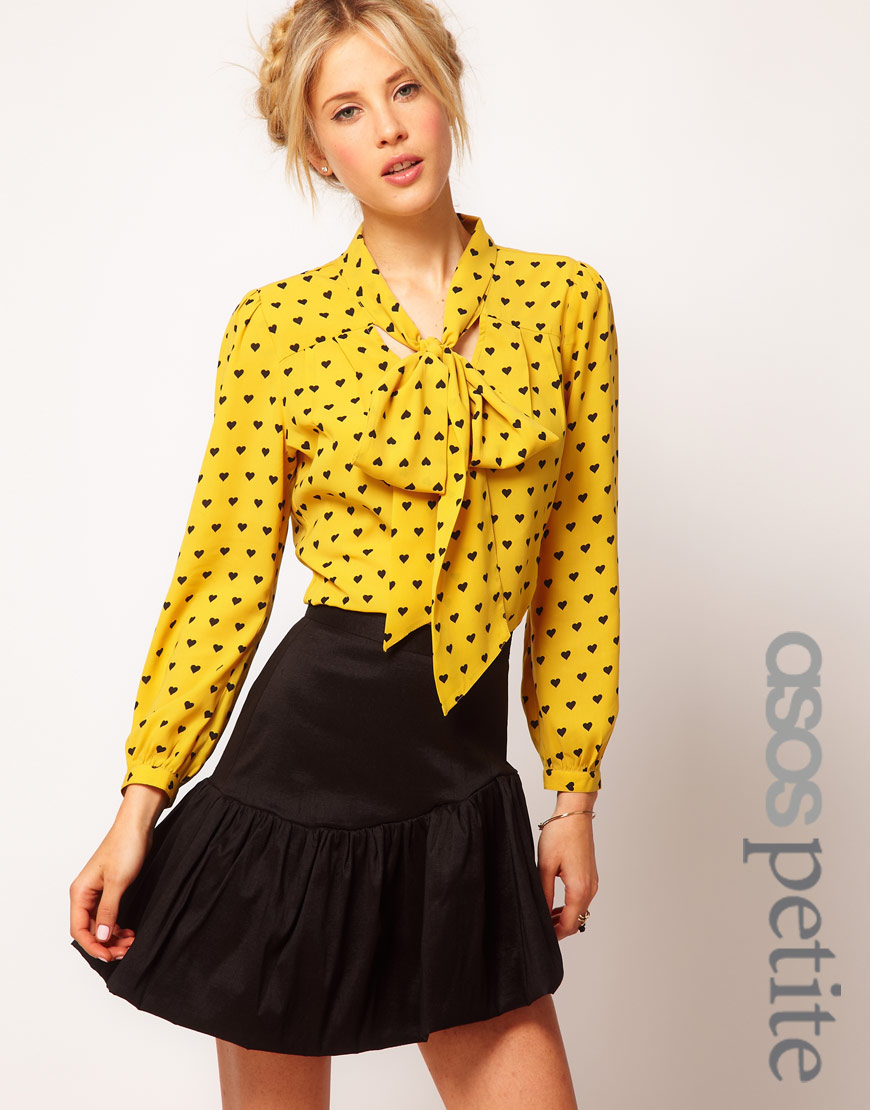 Pussybow Blouse In Heart Print