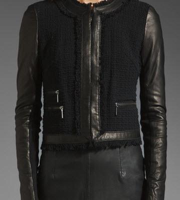 Rebecca Taylor Leather Tweed Jacket