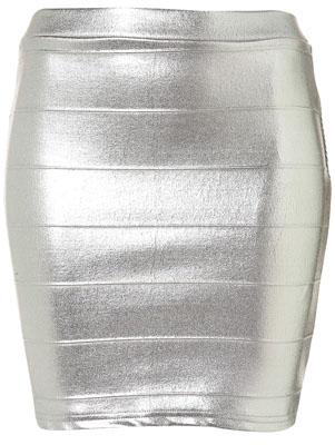 Silver Metallic Bodycon Skirt