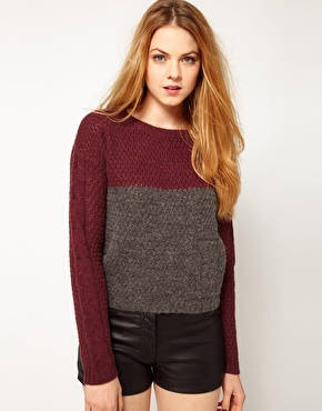 2a29e2eaa3 Vila Two Tone Textured Knit Sweater - SHEfinds