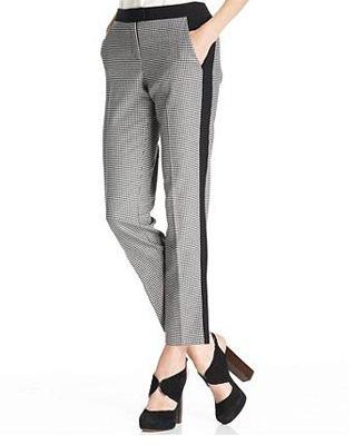 Vince Camuto Pants, Straight-Leg Ankle Tuxedo-Stripe