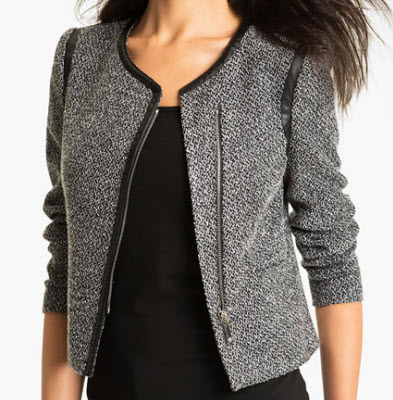 Vince Camuto Tweed and Leather Jacket