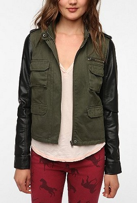 Staring at Stars Faux Leather Sleeve Surplus Jacket