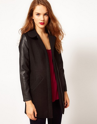 A Wear Leather Look Sleeve Coat