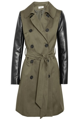 Helene Berman Faux leather-sleeved twill trench coat