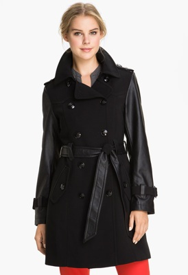 1 Madison Faux Leather Sleeve Trench Coat