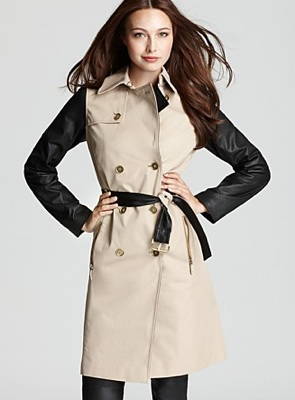 MICHAEL Michael Kors Leather Sleeve Trench Coat