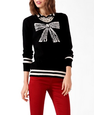 Forever21 Collared Bow Graphic Sweater