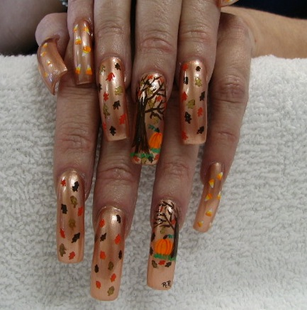 crazy thanksgiving nail art