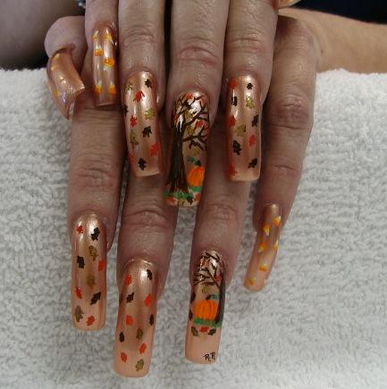 crazy thanksgiving nail art