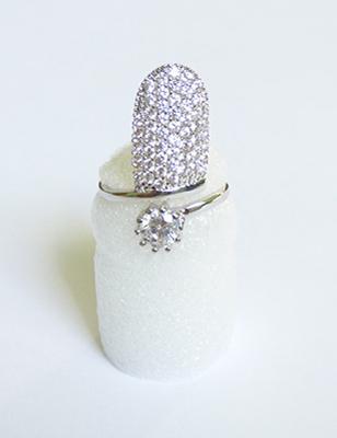 cz pave fingernail ring