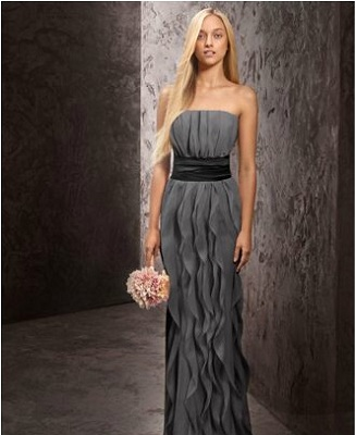 1e6dabe2eea2 WHITE by Vera Wang Strapless Crinkle Chiffon Dress with Mikado Sash Style  ($188)