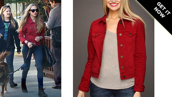 Amanda Seyfried Red Jacket Mavi Samantha Denim Jacket