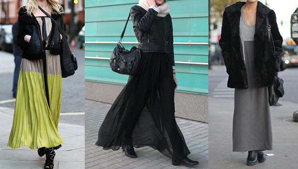 3fb5cb2c2d We love our maxi skirts and dresses, but have a hard time finding ways to  wear them when it gets chilly. While the floor-length silhouette typically  ...
