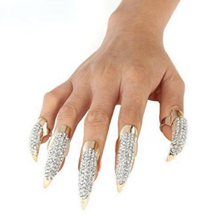crystal nail rings set of 5