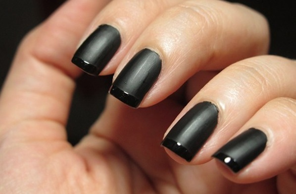Black Matte Nails | Black Matte Glossy Tip | Butter London Kaelen Nails