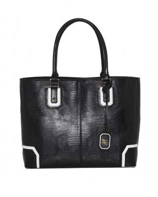 Lizard Embossed Leather D Tote Bag