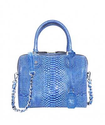 Olivia Embossed Leather Bag Blue