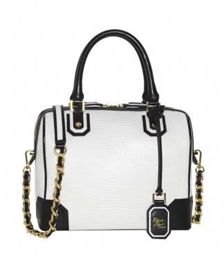 Olivia Lizard Embossed Leather Bag White