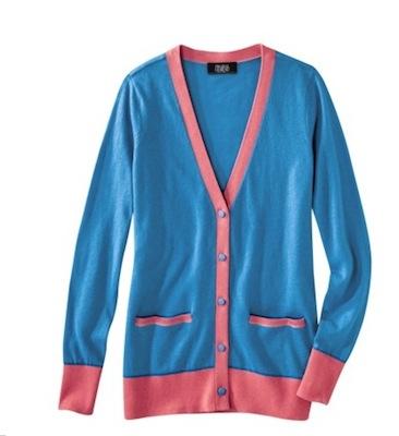 Prabal Gurung for Target Colorblock Long Sleeve Cardigan in Dresden Blue