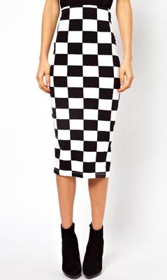 ASOS Pencil Skirt in Checkerboard Print