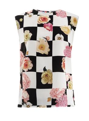 MSGM Checkerboard floral-print top