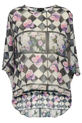 Topshop Floral Checkerboard Drop Back Tunic